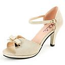 זול סנדלי נשים-בגדי ריקוד נשים נעליים PU קיץ נוחות עקבים זהב / ירוק / ורוד
