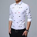 billige Oxfordsko til herrer-Bomull Tynn Skjorte Trykt mønster Forretning Herre
