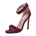 preiswerte Damen Sandalen-Damen Schuhe Wildleder Sommer / Herbst Komfort / Neuheit High Heels Walking Stöckelabsatz Peep Toe Reißverschluss Schwarz / Burgund