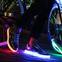 זול סניקרס לנשים-בגדי ריקוד נשים נעליים PU אביב סתיו נוחות נעלי ספורט שטוח בוהן עגולה שרוכים LED ל קזו'אל זהב כסף