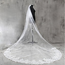 cheap Wedding Gifts-Two-tier Lace Applique Edge Wedding Veil Chapel Veils / Cathedral Veils with Sequin / Appliques Lace / Tulle / Angel cut / Waterfall