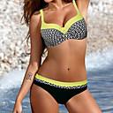 olcso Hagyományos izzó-Női Bikini - Nyomtatott, Mértani Bugyik Pántos Pánt nélküli
