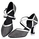 baratos Sapatos de Dança Latina-Mulheres Sapatos de Dança Latina Gliter Sandália Gliter com Brilho Salto Cubano Personalizável Sapatos de Dança Dourado / Preto / Prata