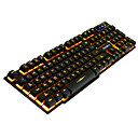 baratos Teclados-Ruyiniao v-8 gaming backlit keyboard 104 teclas usb cable monochrome yellow