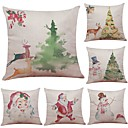 cheap Christmas Decorations-6 pcs Linen / Cotton / Linen Pillow Case / Pillow Cover, Textured Beach Style / Bolster / Traditional / Classic