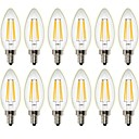 abordables Bombillas LED-12PCS 4W 400 lm Bombillas de Filamento LED C35 4 leds COB Regulable Decorativa Blanco Cálido AC 100-240 AC 110-130 V