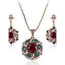 cheap Earrings-Women's Synthetic Emerald Synthetic Diamond Jewelry Set - Rhinestone, Emerald Statement, Luxury, Vintage Include Drop Earrings Pendant Necklace Red / Green For Christmas Party Engagement