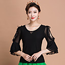 cheap Ballroom Dance Wear-Ballroom Dance Tops Women's Training Ice Silk Ruffles 3/4 Length Sleeves Top
