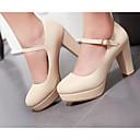 olcso Női magassarkú cipők-Női Cipő PU Tavasz Kényelmes Magassarkúak Fekete / Bézs / Rózsaszín