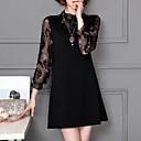 cheap Women's Clogs & Mules-Women's Plus Size Sheath Dress - Solid Colored / Color Block Print Crew Neck / Fall