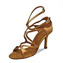 baratos Sapatos de Dança Latina-Mulheres Sapatos de Dança Latina Seda Sandália Cristal / Strass Salto Agulha Personalizável Sapatos de Dança Preto / Marron / Espetáculo