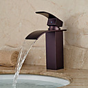 cheap Kitchen Faucets-Antique Centerset Waterfall Ceramic Valve Single Handle One Hole Oil-rubbed Bronze, Bathroom Sink Faucet