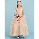 cheap Bakeware-Ball Gown Ankle Length Flower Girl Dress - Tulle Sleeveless Spaghetti Strap with Bow(s) by LAN TING BRIDE®