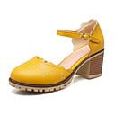 baratos Sapatos de Salto-Mulheres Sapatos Couro Ecológico Primavera Outono Conforto Inovador Saltos Salto Robusto Ponta Redonda Presilha para Social Escritório e