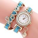 baratos Relógios da Moda-Mulheres Bracele Relógio Chinês Cronógrafo / Impermeável / Criativo PU Banda Brilhante / Casual / Fashion Preta / Branco / Azul / Aço Inoxidável