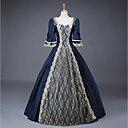 cheap Historical & Vintage Costumes-Cinderella Queen Victoria Goddess Dress Cosplay Costume Masquerade Ball Gown Women's Adults' Rococo Medieval Renaissance Christmas Halloween Carnival Festival / Holiday Outfits Cyan Plus Size / Satin