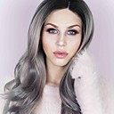 cheap Synthetic Capless Wigs-Synthetic Lace Front Wig Wavy Synthetic Hair Gray Wig Women's Long Lace Front