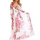 abordables Relojes de Moda-Mujer Tallas Grandes Festivos / Playa Gasa / Corte Swing Vestido - Estampado, Floral Tiro Alto Maxi Escote en Pico / Patrones florales