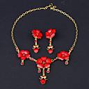 povoljno Komplet nakita-Žene Kubični Zirconia Sintetička Rubina Sitne naušnice Ogrlica Princeza Cvijet Luksuz Moda Kubični Zirconia Pozlaćeni Naušnice Jewelry Crvena Za Vjenčanje Party / Ogrlice