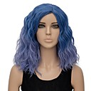 cheap Synthetic Capless Wigs-Synthetic Wig Women's Water Wave Blue Synthetic Hair Ombre Hair Blue Wig Short Capless Light Blue