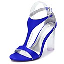 cheap Women's Sandals-Women's Shoes Satin Spring / Summer T-Strap / Basic Pump / Ankle Strap Sandals Chunky Heel / Translucent Heel / Crystal Heel Round Toe