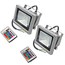 cheap LED Flood Lights-2 PCS HKV® 10W 900-1000 Lm RGB Waterproof Festoon LED Floodlight Integrate LED AC85-265V