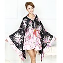 billige Lolitakjoler-Wa Lolita Vintage Inspireret Dame Jente Japansk Kimono Cosplay Blomstret Langermet Asymmetrisk Halloween-kostymer