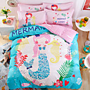 cheap Cartoon Duvet Covers-Duvet Cover Sets Cartoon Cotton Reactive Print Cotton 1pc Duvet Cover 1pc Flat Sheet 2pcs Shams (only 1pc sham for Twin)
