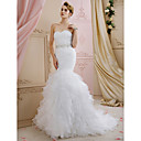 cheap Human Hair Wigs-Mermaid / Trumpet Sweetheart Neckline Sweep / Brush Train Organza Made-To-Measure Wedding Dresses with Sashes / Ribbons / Cascading