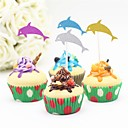 cheap Birthday Home Decorations-Cake Topper Beach Theme Animals Baby Shower Others Romance Birthday Wedding Paper Wedding Birthday with 12 PVC Bag