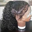 olcso Emberi hajból készült parókák-ELVA HAIR Emberi haj Csipke korona, szőtt Csipke Paróka Göndör Paróka Tincselve Copf 150% Haj denzitás Természetes hajszálvonal Női Rövid Közepes Hosszú Emberi hajból készült parókák
