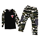 cheap Synthetic Capless Wigs-Boys' Camouflage Clothing Set, Cotton All Seasons Long Sleeves Army Green
