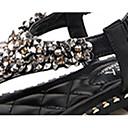 baratos Sandálias Femininas-Mulheres Sapatos Couro Ecológico Primavera / Verão Conforto / Solados com Luzes Sandálias Sem Salto Dedo Aberto Pedrarias / Pérolas Sintéticas Branco / Preto