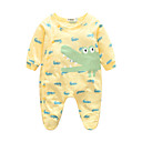 cheap Baby Boys' One-Piece-Baby Boys' Animal One-Pieces, 100% Cotton Spring/Fall Long Sleeves Green Yellow