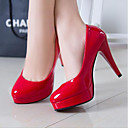 cheap Women's Heels-Women's Shoes Patent Leather Spring Fall Basic Pump Comfort Heels for Casual White Black Red