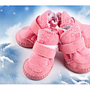 cheap Dog Clothes-Dog Boots / Shoes Keep Warm / Snow Boots Solid Colored Brown / Pink For Pets