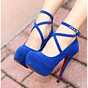 זול נעלי עקב לנשים-בגדי ריקוד נשים נעליים עור נובוק / PU סתיו / חורף בלרינה בייסיק עקבים עקב עבה שחור / אדום / כחול