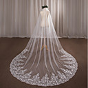 cheap Party Supplies-One-tier Wedding Veil Chapel Veils with Appliques Lace / Tulle / Angel cut / Waterfall