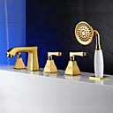 cheap Party Headpieces-Bathtub Faucet Gold Tub And Shower Three Handles Five Holes