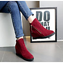 cheap Pillow Covers-Women's Shoes Nubuck leather / Cowhide Fall / Winter Fashion Boots Boots Chunky Heel Booties / Ankle Boots Black / Gray / Red