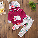 cheap Girls' Clothing Sets-Toddler Girls' Floral / Stripes / Dresswear Solid Colored / Floral / Stripe Long Sleeve Cotton Clothing Set