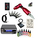 cheap Starter Tattoo Kits-Tattoo Machine Starter Kit - 1 pcs Tattoo Machines with 7 x 15 ml tattoo inks, Professional LED power supply Case Not Included 1 rotary machine liner & shader