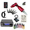 cheap Starter Tattoo Kits-Tattoo Machine Starter Kit - 1 pcs Tattoo Machines with 7 x 15 ml tattoo inks, Professional LED power supply 1 rotary machine liner &