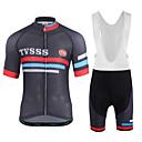 baratos Camisas & Shorts/Calças de Ciclismo-Homens Manga Curta Camisa com Bermuda Bretelle - Branco / Preto Moto Conjuntos de Roupas Lycra Riscas / Com Stretch