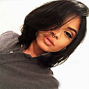 cheap Party Headpieces-Synthetic Wig Bob Haircut / With Bangs Synthetic Hair Black Wig Women's Medium Length Capless