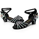 baratos Sapatos de Dança Latina-Mulheres Sapatos de Dança Latina Seda Salto Presilha Salto Alto Personalizável Sapatos de Dança Preto / Marron / Interior