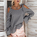 cheap Earrings-Women's Going out Cute Loose Shirt - Color Block Bow