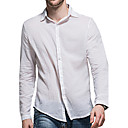 cheap Sensors-Men's Cotton Shirt - Solid Colored Basic Classic Collar / Long Sleeve
