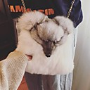 cheap Totes-Women Bags Fur Crossbody Bag Buttons for Winter White Black Gray