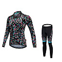 cheap Cycling Pants, Shorts, Tights-Malciklo Women's Long Sleeve Cycling Jersey with Tights - Black Bike Clothing Suit Quick Dry Anatomic Design Reflective Strips Winter Sports Fleece Lycra Polka Dot Mountain Bike MTB Road Bike Cycling